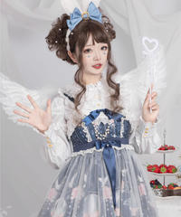 【d.Alice】ブラウス付 ネイビー チュール重ねワンピース 1080