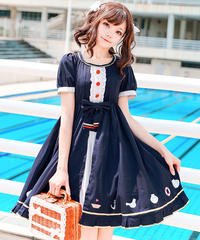 【d.Alice】ネイビーワンピース 赤ボタン 1064