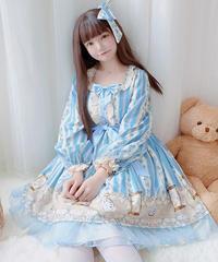 【d.Alice】水色 時計模様 ワンピース(長袖) 1074