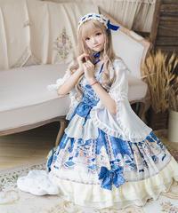 【d.Alice】ブラウス付ドット柄青ワンピース 1070