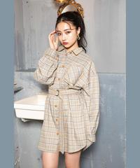 パイピングシャツワンピ AG193OP01
