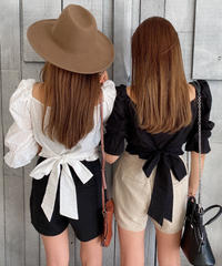 Back Ribbon Frill Tops