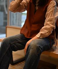【再入荷しました】ポリエステル縮絨 UT Vest / Brown