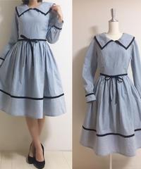 6c18a51aa72b6 SorM 綿麻・コルセット ドレス(ミネラルブルー)