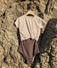 bicolor op bikini & tee set swim wear