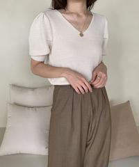 puff sleeve knit v