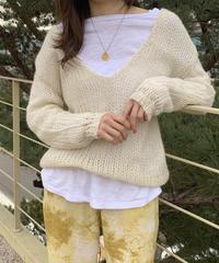 v neck crochet knit