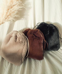 """【SALE】"""" kinchaku """" fur bag"""