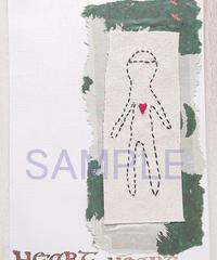 HEART HEART ヒト型モチーフ刺繍コラージュカード(小さなアート)