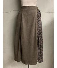 サイドプリーツレイヤード風スカート(ブラウン)