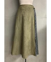 サイドプリーツレイヤード風スカート(カーキ)