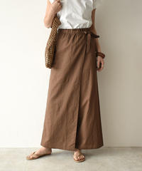 bottoms-04022 MADE IN JAPAN WRAP WIDE LINEN BLEND PANTS