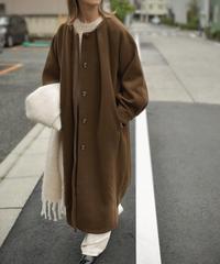 coat-13004 TUCK NO COLLER WOOL COAT