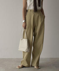bottoms-02068 SIDE BUTTON TUCK WIDE PANTS