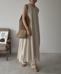 onepiece-02017  COTTON LINEN SLEEVELESS DRESS