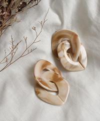 pierce2-02218 WA04 BEIGE MARBLE  EARRINGS