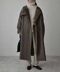 outer-04016 MADE IN JAPAN SIDE BELT NO COLLAR WOOL TRENCH COAT WITH LINING