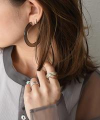 pierce2-02349 CLEAR BLACK HOOP EARRINGS