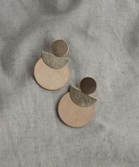 pierce2-02367 CIRCLE WOOD×METAL EARRINGS
