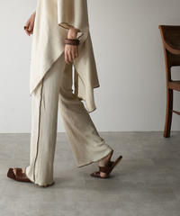 bottoms-04029  MADE IN JAPAN COTTON LINEN RIB FLARED PANTS