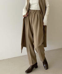 bottoms-04048  MADE IN JAPAN WOOL LIKE SERGE FABRIC TUCK TAPERED PANTS