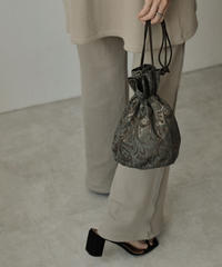 bag2-02518 MADE IN JAPAN PAISLEY JACQUARD DRAWSTRING BAG