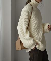 knit-02105  WOOL BLEND DIAMOND RIB VOLUME SLEEVE KNIT