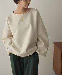 tops-04112 MADE IN JAPAN WOOL BLEND KNIT MELTON WIDE PULLOVER