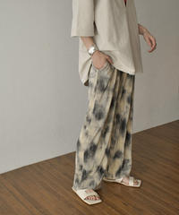 bottoms-02106 TIE-DYE PATTERN RELAXED PLEATED PANTS