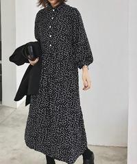 tops-02037 BALLOON SLEEVE PETAL PATTERN SHIRT DRESS