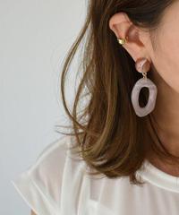 pierce2-02356 PINK MARBLE BEND FRAME  EARRINGS