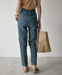 bottoms-04026  MADE IN JAPAN LINEN BACK LACE UP PANTS