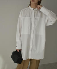 tops-04064 MADE IN JAPAN BIG POCKET BAND COLLAR SHIRT