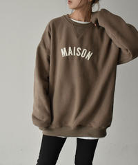 tops-02193 BRUSHED BACK LOGO SWEATER PULLOVER