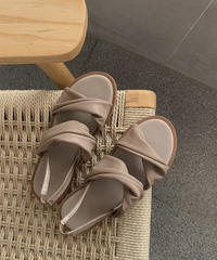 shoes-02069 DOUBLE TWIST BAND FLAT SANDALS