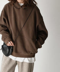 tops-02138 BRUSHED BACK WIDE SWEAT HOODY