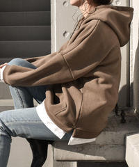 tops-02013 BRUSHED BACK LAYERED HOODIE