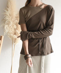 tops-04013 MADE IN JAPAN BICOLOR RIB IRREGULAR PULLOVER SET