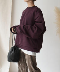 tops-02131 BRUSHED BACK OVERSIZED SWEAT TOPS