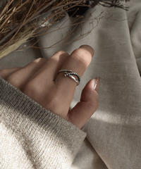 ring2-02048 STERLING SILVER 925 CHAIN MOTIF THIN RING
