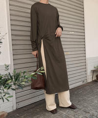 onepiece-04010 MADE IN JAPAN LONG SLEEVE SLIT DRESS