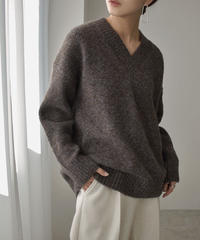 knit-02120 V-NECK MIXED COLOR KNIT PULLOVER