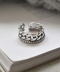 ring2-02060 STERLING SILVER 925  CHAIN & ROPE DESIGN RING