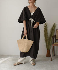 onepiece-04026 MADE IN JAPAN WAIST GATHER LINEN GOWN PONCHO