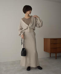 bottoms-04046 MADE IN JAPAN WOOL BLEND WAFFLE FLARE LONG SKIRT