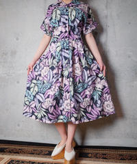 Purple Pink Flower Cotton Front Open Dress