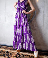 Paisley × Bijou Frill Purple Silk Dress