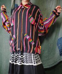 Neon Stripe Rayon Shirt Blouson