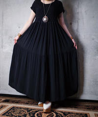 Gather & Tiered Black Rayon Dress