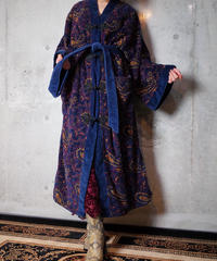 Remake China Button Paisley Pile Gown Coat
